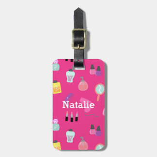 Bright Pink, Makeup, Beauty, Grooming pattern Luggage Tag