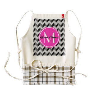 Bright Pink Monogram Black and Gray Chevron Patter Zazzle HEART Apron