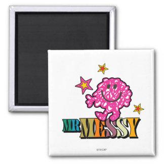 Bright Pink Mr. Messy | Sparkling Stars Magnet