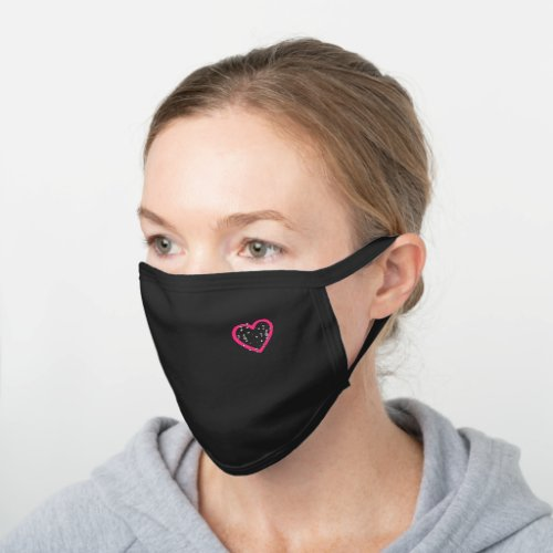Bright Pink Music Heart Musical Notes Treble Clefs Black Cotton Face Mask