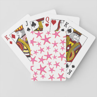 Bright pink neon watercolor gold starfish pattern playing cards