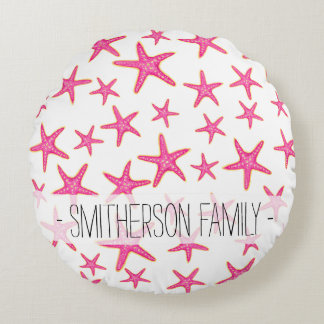 Bright pink neon watercolor gold starfish pattern round pillow