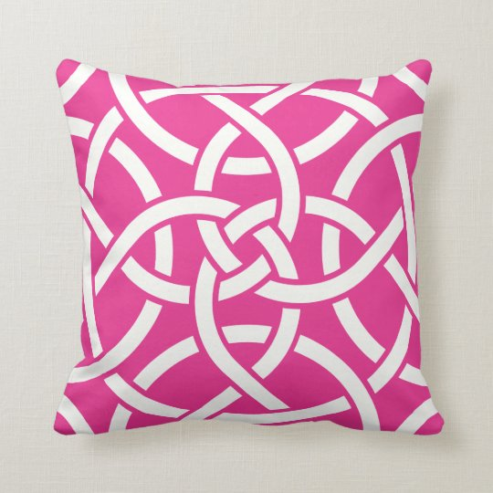 Bright Pink Off White Circle Links Pillow