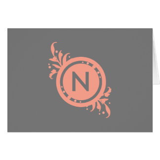 Bright Pink on Grey Floral Monogram Card