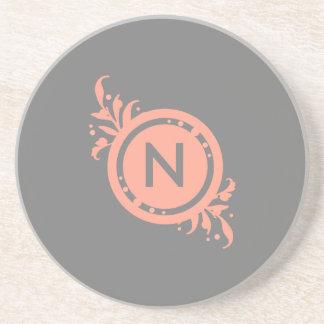 Bright Pink on Grey Floral Monogram Drink Coaster