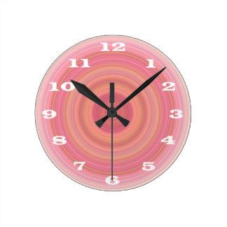 Bright Pink Orange Bullseye bold white numbers Wall Clock