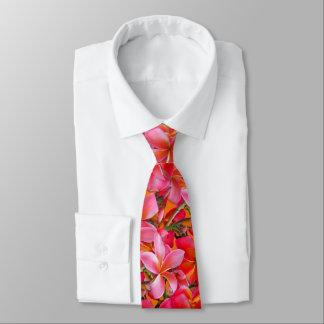 Bright Pink Orange Hawaiian Plumeria Print Neck Tie
