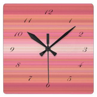 Bright Pink Orange Striped black script numbers Wallclocks