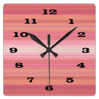 Bright Pink Orange Striped bold black numbers Wall Clocks