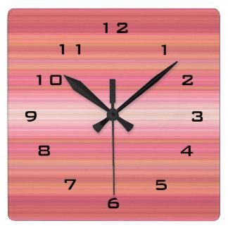 Bright Pink Orange Striped digital black numbers Square Wall Clocks