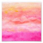 Bright pink orange sunset watercolor painted photo print