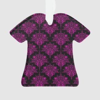 Bright Pink over Black Damask Pattern Ornament