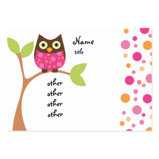 Bright Pink Owl Baby Large Business Cards (Pack Of 100)