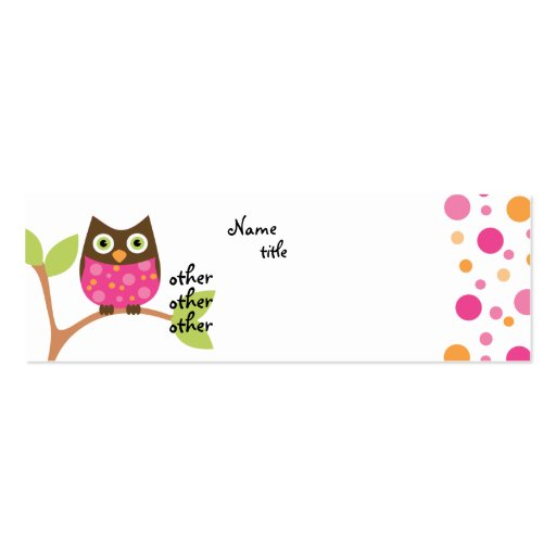 Bright Pink Owl Baby Mini Business Card