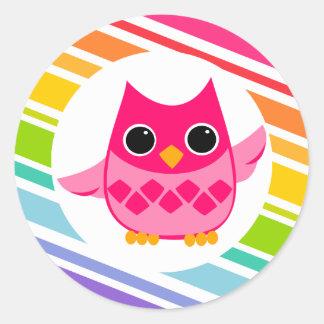 Bright Pink Owl Classic Round Sticker