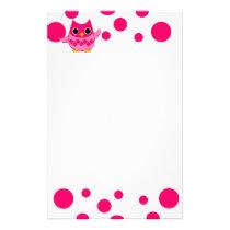 Bright Pink Owl Stationery