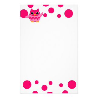 Bright Pink Owl Stationery