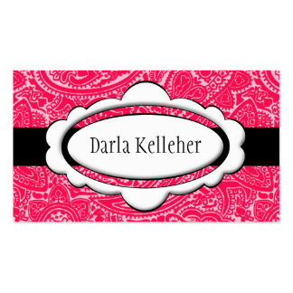 Bright Pink Paisley Business Cards