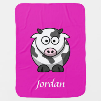 Bright Pink Personalized Cow Blanket