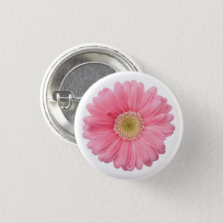 Bright Pink Photographic Daisy Flower Button