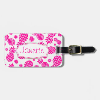Bright pink pineapple and flower named luggage tag