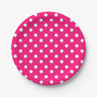 Bright pink polka dot pattern 7 inch paper plate