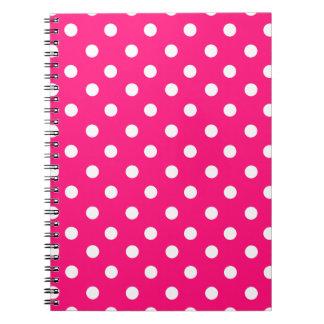 Bright pink polka dot pattern spiral notebook
