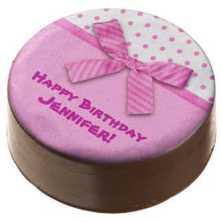 Bright Pink Polka Dot Personalized Chocolate Dipped Oreo