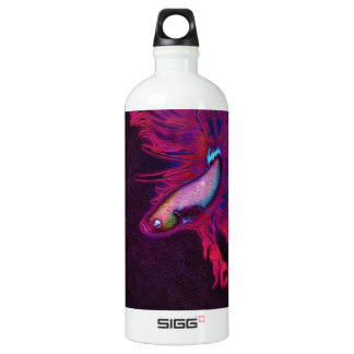 Bright Pink, Purple, and Blue Beta Fish Aluminum Water Bottle