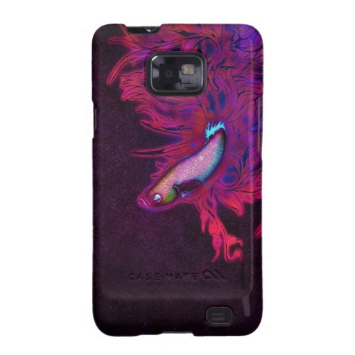 Bright Pink, Purple, and Blue Beta Fish Galaxy S2 Cover