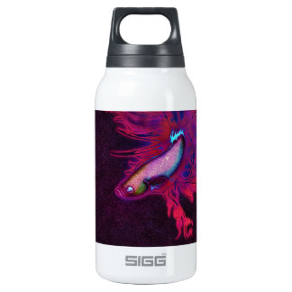 Bright Pink, Purple, and Blue Beta Fish Insulated Water Bottle