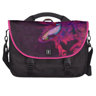 Bright Pink, Purple, and Blue Beta Fish Computer Bag