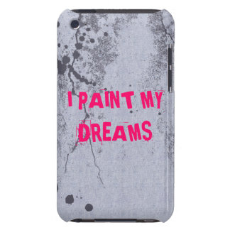 Bright pink quote on paint splatter iPod case Barely There iPod Covers