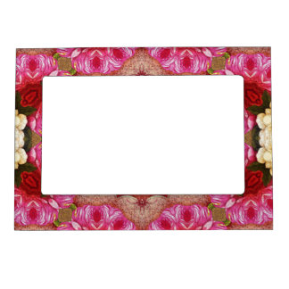 Bright Pink Red Rose Abstract Magnetic Picture Frame