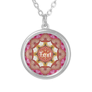 Bright Pink Red Rose Abstract Round Pendant Necklace