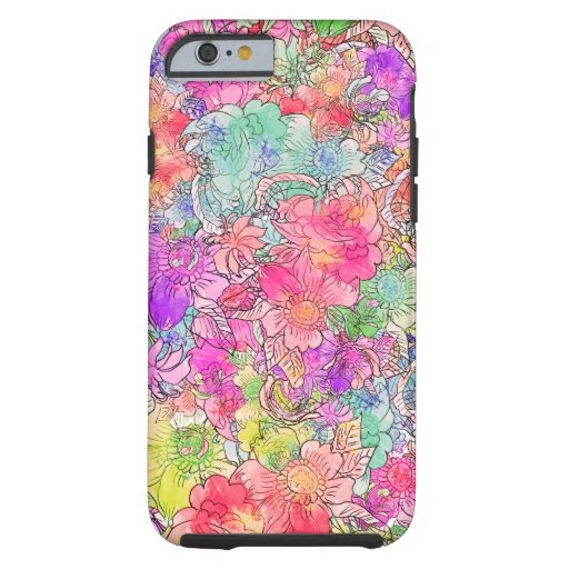 Bright Pink Red Watercolor Floral Drawing Sketch iPhone 6 Case
