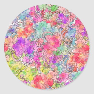 Bright Pink Red Watercolor Floral Drawing Sketch Classic Round Sticker