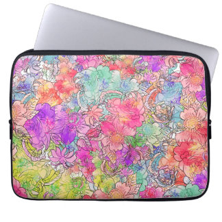 Bright Pink Red Watercolor Floral Drawing Sketch Computer Sleeve