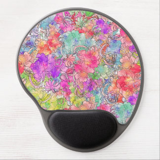 Bright Pink Red Watercolor Floral Drawing Sketch Gel Mouse Pad