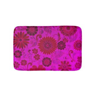 Bright Pink Retro Flowers Bath Mats