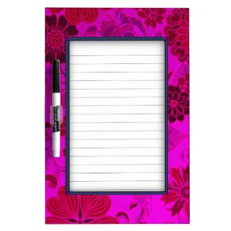 Bright Pink Retro Flowers Dry-Erase Whiteboards