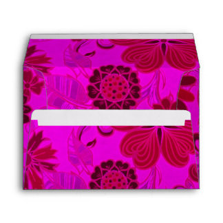 Bright Pink Retro Flowers Envelope