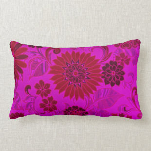 Bright Pink Retro Flowers Pillow