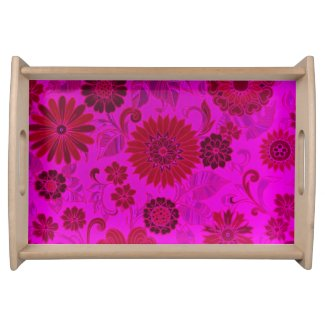 Bright Pink Retro Flowers Serving Trays