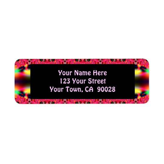 bright pink ribbon patter label
