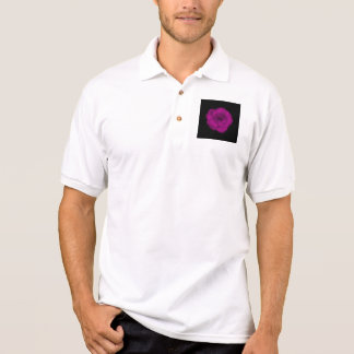 Bright Pink Rose. Black Background. Polo Shirt