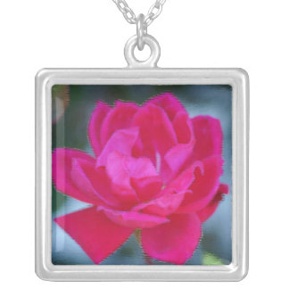 Bright pink rose painting square pendant necklace