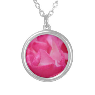 Bright Pink Rose Petals Silver Plated Necklace