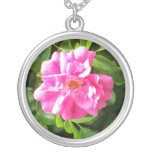 Bright Pink Rose Silver-plate Necklace