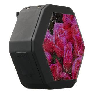 Bright Pink Roses Painted Black Bluetooth Speaker